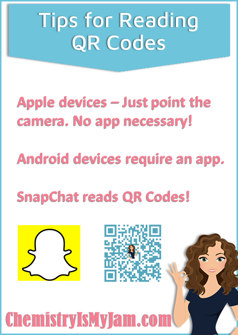 Tips for reading QR codes. Apple devices do not require an app. Just point the camera at the code. Android devices require an app. Snapchat has a QR Code reader.