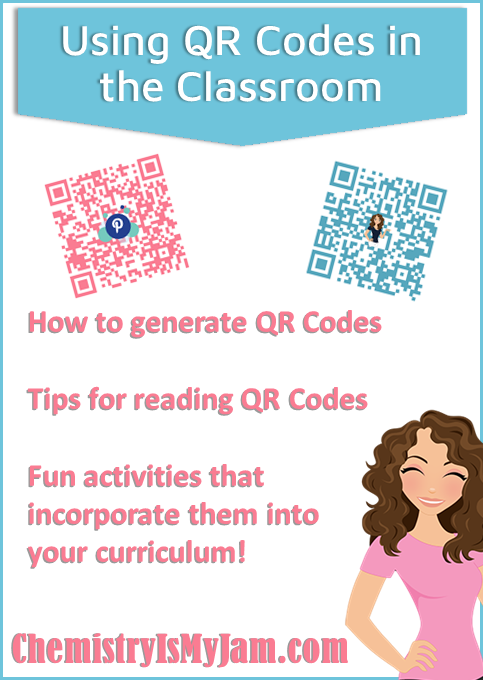 Find tips for using QR Codes in the classroom. Learn how to generate them, tips for reading them, and fun activities for incorporating them into your curriculum. All at ChemistryIsMyJam.com