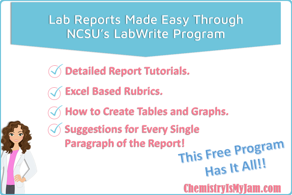 NCSU's LabWrite Program offers detailed lab report tutorials, excel based grading rubrics, information on how to create tables and graphs, and suggestions for every paragraph of the lab report. This free program has it all!